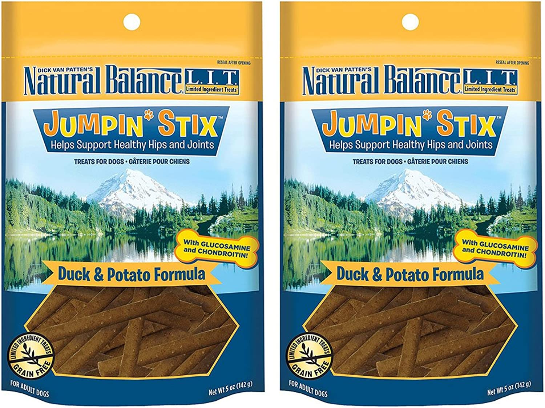 Natural Balance L.I.T. Limited Ingredient Treats Jumpin' Stix Dog Treats  5 Ounces  Duck & Potato (2 Pack)