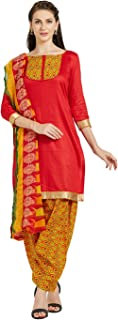 Florence Women's Cotton Straight Salwar Suit Set (SB-3435-JAN2019_Red_One Size)