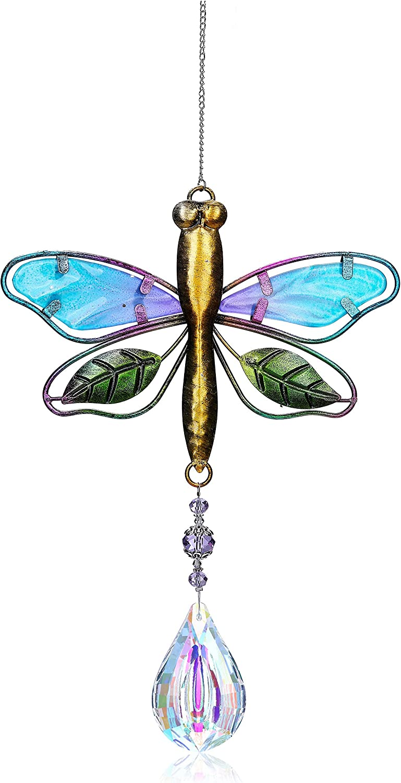 CrystalTears Dragonfly Crystal Suncatcher Hanging Crystals Rainbow Maker Crystal Ball Prism Wall Window Suncatcher for Home Office Garden Decor