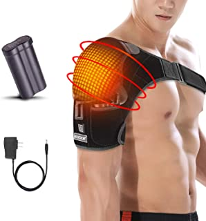 Shoulder Wrap Brace Heating Pad Portable Adjustable Electric 3 Heat Settings Support Hot Therapy Pain Relief Stiff Sorenes...