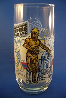 Vintage 1980 Star Wars Burger King Empire Strikes Back Glass with C-3PO & R2-D2