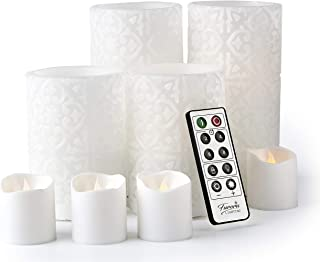 Furora LIGHTING LED Flameless Candles with Remote Control, Set of 8, Real Wax Battery Operated Pillars and Votives LED Can...