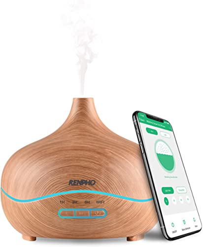 Smart Essential Oil Diffuser Compatible with Phones APP, RENPHO 300ml Wood Grain Ultrasonic Aromatherapy Humidifier C...