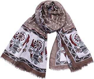 Scarves Large Cotton and Linen Retro Ethnic-Style Horizontal Strip Print Fashion Shawl Four Seasons Multi-Function air-Conditioning Measures Sunscreen` TuanTuan (Color : Khaki)