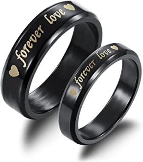 2pcs Titanium Steel Black Forever Love Double Heart Couples Promise Rings Romantic Valentines Gift