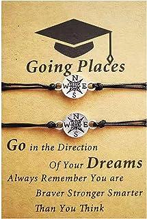 2Pcs Handmade Going Places Compass Bracelet Set Adjustable College Graduates Inspirational Card Waterproof Rope Bracelet f...