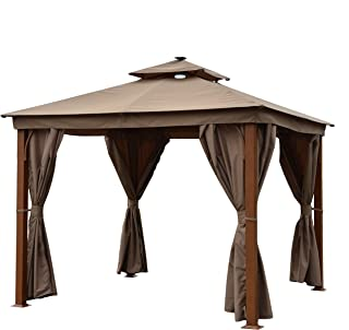 ALEKO GZC10X10W Double Roof Aluminum Frame Gazebo with Wooden Finish and Curtains - 10 x 10 Feet - Sand