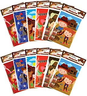 Western Cowboy Cowgirl Coloring Books with Crayons Party Favors, Set of 12