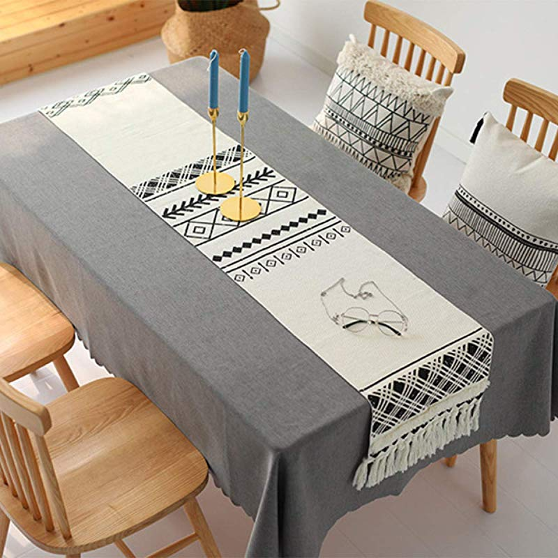 Shamrockers Farmhouse Table Runner Simple Retro Geometrical Pattern Table Cloth For Dinning Room Decor Square 14 X 102 Inch