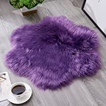 Plum Carpet Home Solid Color Plush Rugs Living Room Sofa Coffee Table Floor Mat Wear-Resistant Non-Slip Easy to Care 60Cm,2