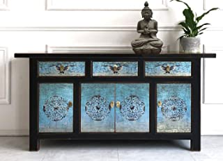OPIUM OUTLET - Aparador chino asiático estilo vintage color turquesa y negro