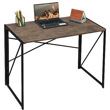 "Writing Computer Desk 40"" Modern Simple Study Desk Industrial Style Folding Laptop Table for Home Office Notebook Desk Brown Desktop Black Frame"