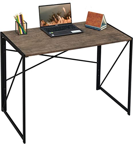 "Writing Computer Desk 39"" Modern Simple Study Desk Industrial Style Folding Laptop Table for Home Office Notebook Des..."