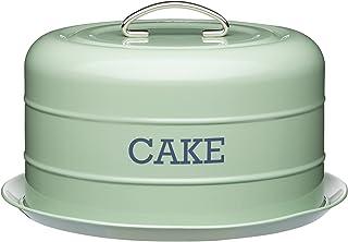"Recipiente hermético Kitchen Living Nostalgia lata/bandeja para tartas, 28,5x 18cm (11""x 7""), acero, Inglés Verde, 28x 28x 18cm"