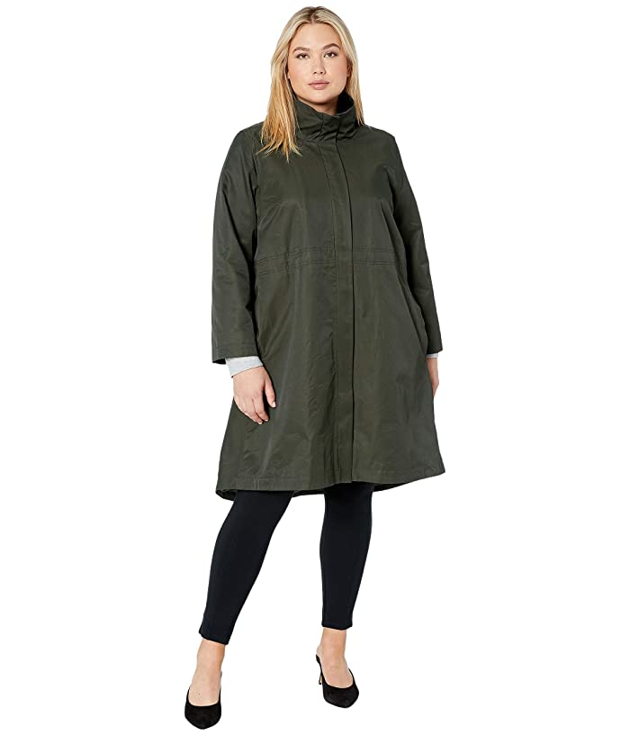 Plus Size Organic Cotton Nylon Stand Collar Coat by Eileen Fisher