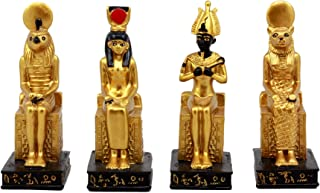 Ebros Gift Egyptian Gods Horus Osiris Sekhmet And Isis Seated On Thrones Figurine Set of 4 Decorative Miniatures 3.75