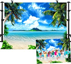 MME Summer Beach Backdrops for Photography 10X7ft Vinyl Blue Sea and Sky Background Palm Trees Photo Backdrop for Photo Booth