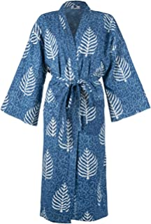 India rose Womens Cotton Dressing Gown 100/% Sustainable Organic Cotton Hand Printed Using Vegetable Dyes Lightweight Kimono One Size Fits: UK 10-18 // Europe 38-46