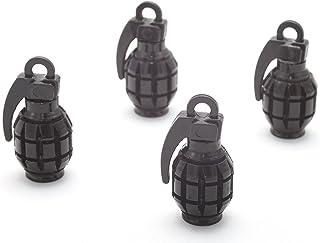 4X Ventilkappen Handgranate Granate Farbe: Schwarz Black Ventilkappe Vhsch