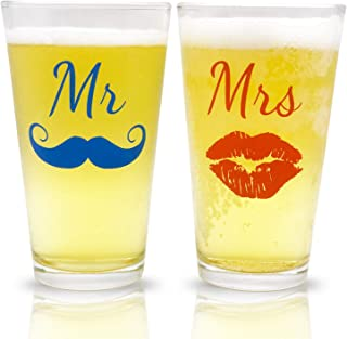 Mr. and Mrs. Pint Beer Glasses Gift Set   Funny Engagement or Wedding Present   Perfect for Newlyweds, Anniversary Presents, Bride and Groom, and Couples