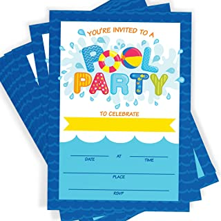 Pool Party Invitations 16 Invitations and Envelopes, Summer Swim Splash Party, Waterpark Invitations