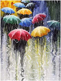 Mobicus 5D DIY Diamond Painting by Number Kits,The Pedestrians in The rain(30X40CM/12X16inch)