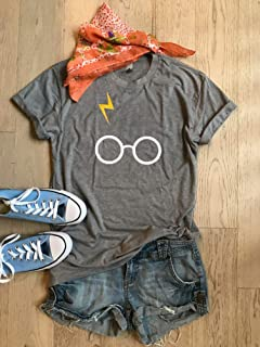 Gray/Small/Harry Potter/Harry Potter Glasses/Unisex Fit/Hand Made/Made To Order/Unisex Fit/Harry Potter T Shirt/Thunder Bolt With Glasses/Crew Neck Shirt/Fast Shipping