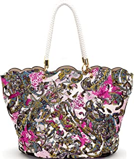 Handbag Republic Perforated Paisley Tote w/Pull-out Crossbody