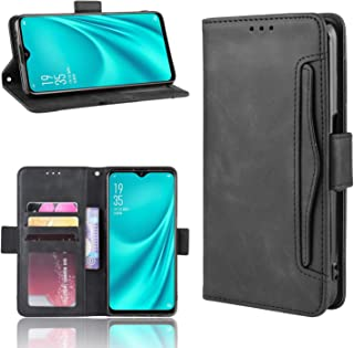 YEZHU Oppo Reno A 手帳型ケース・全面保護・カードもっと収納 PUレザー 手触り良い 耐衝撃 滑り落ちにくい 指紋防止携帯カバー(Oppo Reno A ブラック)