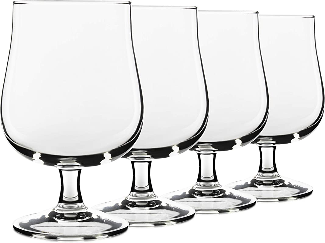 17oz USA Made Belgian Craft Beer Glasses Tulip Style Stemmed Glassware Set Of 4 By Serami