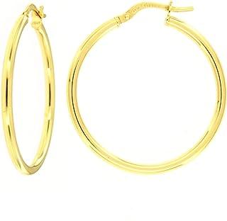 Orecchini Donna a Cerchio in Oro giallo con anima in Argento