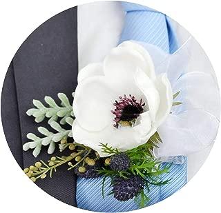 New Handmade Wedding Supplies Artificial Flower White Anemone Groom Boutonniere Bride Bridesmaid Hand Wrist Flower Suit Corsage,Wrist Flower
