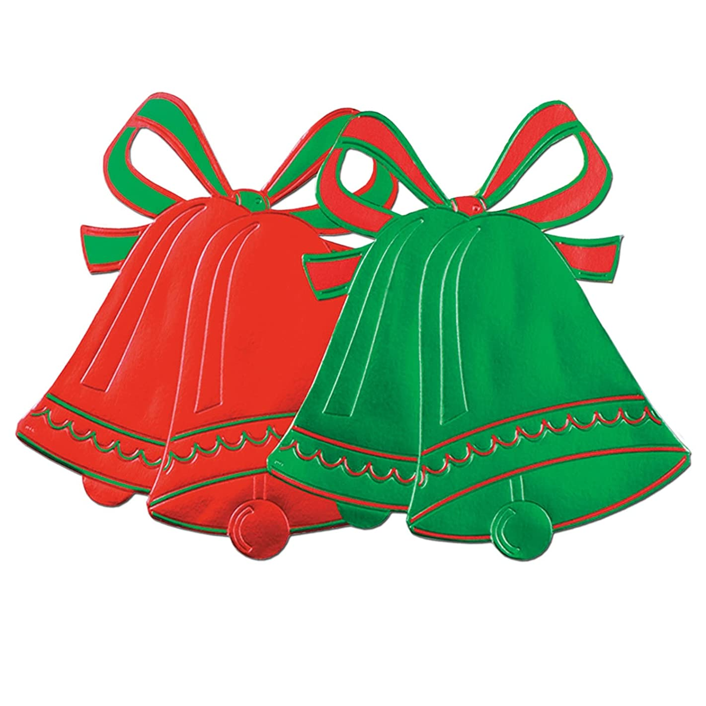 Beistle 22418 24-Piece Foil Christmas Bell Silhouettes, 16-1/2-Inch