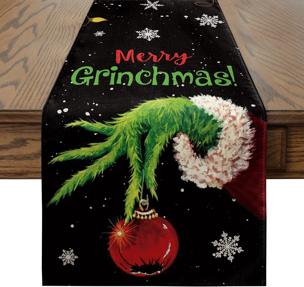 Artoid Mode Merry Grinchmas Christmas Table Runner Black, Seasonal Winter Xmas Holiday Kitchen Dining Table Decoration for Indoor Outdoor Home Party Decor 13 x 72 Inch