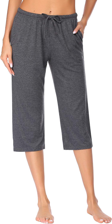 Ekouaer Women's Pajama Pants Comfy Lounge Capri Drawstring Pj Bottoms with Pockets Elastic Sleep Capris Soft Sleepwear