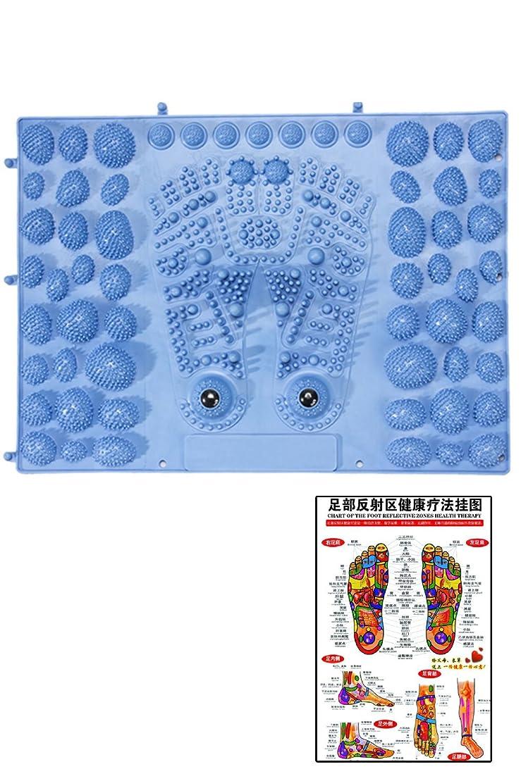 インディカ先行する結婚式(POMAIKAI) 足型 足ツボ 健康 マット ダイエット 足裏マッサージ 反射区 マップ セット (ブルー)