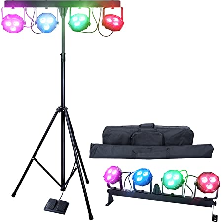 DragonX 4 Bar DJ Lighting LED Mobile Stage Lighting Packages   RGB Portable Par Can Kits Dj Lights Stand   Sound Activated Strobe LED Wash Light for Party Wedding Church Band Gig