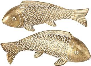 CasaJame 2 x Koi Carpa Escultura Decorativa - Conjunto de 2 Estatuas de Peces Ornamentales - Resina Sintética Dorada 22x8x8cm