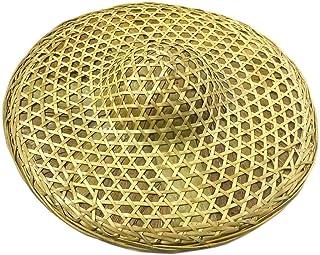 Sunny Hill Chinese Style Bamboo hat Hand Made Weave rain hat Retro Dome Cap Fishing Sunshade Hat 18 Inch Yellow