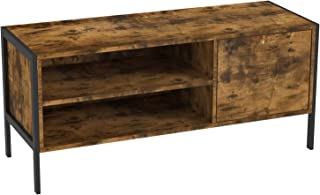 IRONCK Industrial TV Stand with Cabinet 2 Shelves, Television Media Console Table for Living Room Entertainment Room, 43.3 x 15.7 x 19.6 Inches, Vintage Brown