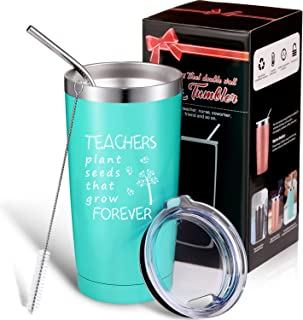 Teachers Plant Seeds That Grow Forever, Thank You Teacher Appreciation Gift for Women Men, Double Wall Stainless Steel Wine Tumbler Cup with Gift Box, Personalized Teacher Gifts (Mint, 20 oz)