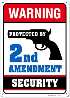 """This House Protected by The 2nd Amendment Gun Owner Sign, 10"""" x 14"""" Industrial Grade Aluminum, Easy Mounting, Rust-Free/Fa..."""