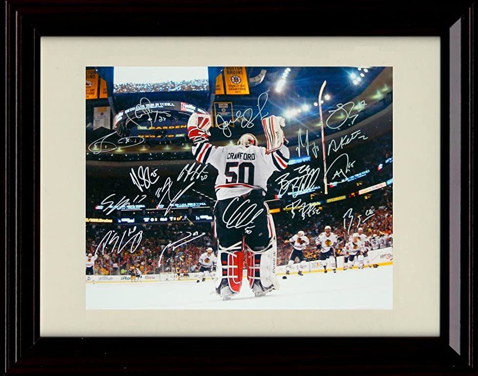 Framed Corey Crawford 2010 Stanley Cup Champs Autograph Replica Print - Chicago Black Hawk Team Signed