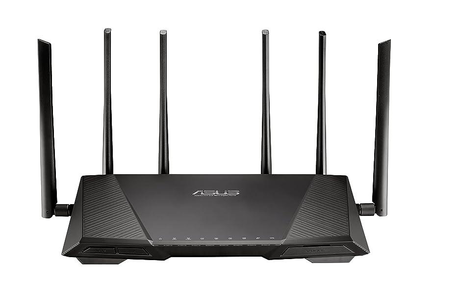 急性普遍的な聴くASUS 高速無線ルータートライバンド 1300+1300+600Mbps(11a/b/g/n/ac) 「AiProtection」搭載 RT-AC3200(最大24台/3階建?4LDK)