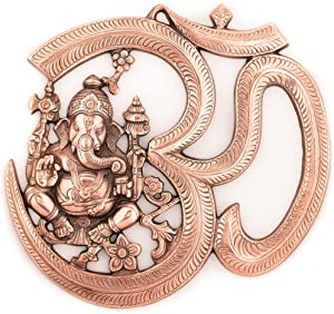 eCraftIndia Metal Wall Hanging of Lord Ganesha with Om (LxWxH - 10.5INx0.25INx10.5IN), Brown