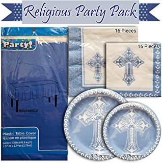 Religious Party Church Picnic Pack of 6 Items, Includes 1 Tablecloth, 2 Packs of Napkins, 2 Packs of Paper Plates, and a B...