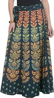 JABAMA Women's Cotton Jaipuri Printed Long Wrap Around Full Size Skirt (Green, Free Size)