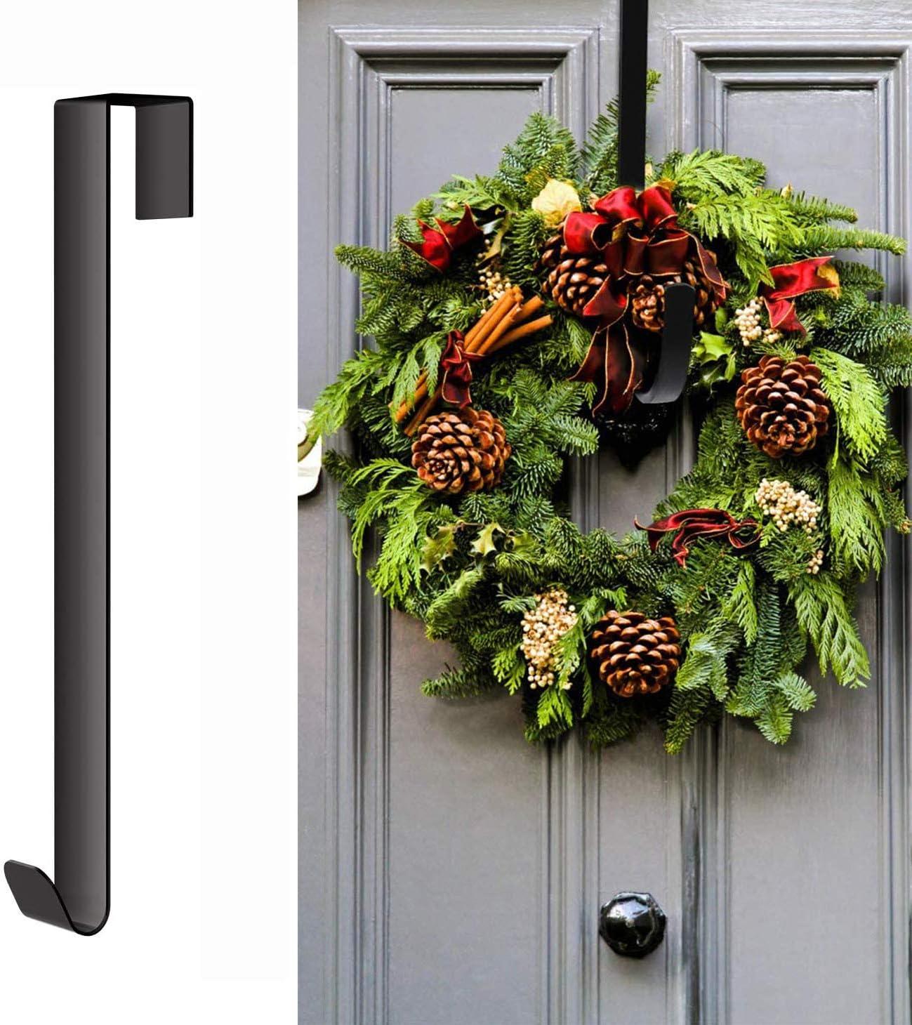 Schwarz T/ürhaken f/ür Weihnachtskr/änze 38cm Kranz Aufh/änger Haken T/ürkranz Weihnachten Metall Handtuchhalter T/ürh/änger Kleiderhaken T/ür f/ür H/ängen Weihnachtskranz Dekoration Kleider Handt/ücher