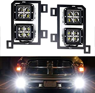 iJDMTOY Dual LED Pod Light Fog Lamp Kit For 2013-18 Dodge RAM 1500, Includes (4) 20W High Power CREE LED Cubes, Foglight Location Mounting Brackets & Wiring/Adapter Harnesses