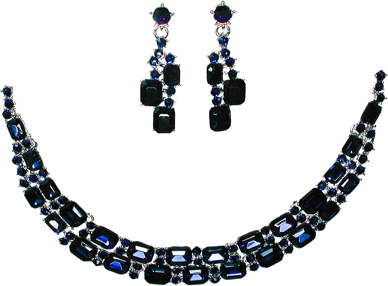 Christina Collection Crystal Rhinestone Two Row Oblong Cut Choker Necklace Earrings Set for Women, Weddings, Bridesmaid, Proms